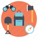 equipment for hiking trip, hiking equipment, necessary traveling icons, traveling items, traveling plans icon