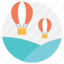 air balloons, hot air balloon, summer travel, summer vacations, traveling in summer icon