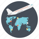 fast travel, international fast travel, traveling, traveling through air, world tour icon
