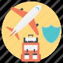 flight insurance, insurance during travel, journey, travel insurances, traveling icon