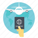 airplane journey, international flight, international tour, international travel, traveling by air icon