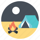 camp fire, camping at night, night camping, outdoor activity, wood fire icon