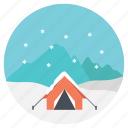 camping, camping in winter, extreme weather, outdoor activity, snow camping icon