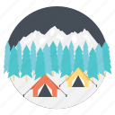 adventure, camping during winter, outdoor activities, winter camp, winter vacations icon