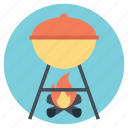 barbeque grill, camp fire, cooking outdoors, outdoor adventures, wood fire icon
