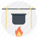 campfire cooking, camping, cooking pot, outdoor activities, wood fire icon