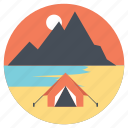 campsite, seashore, seaside camp, summer camp, tourist camp icon