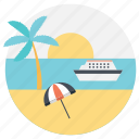 beach vacation, summer holidays, summer vacation, sunny vacation, vacation at sea icon