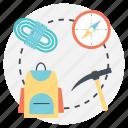 hiking equipment, hiking plans, mountain hiking, mountain hiking equipment, traveling plans icon