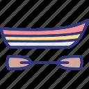 boating, canoe, canoe paddle, canoe with oar icon