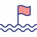buoy, finish, flag, line icon