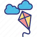 cloud, fly, flying, kite. icon