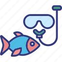 diving, fish, mask, ocean icon
