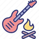 burn, camp, fire, guitar icon