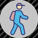 goal, going to school, student, trekking icon