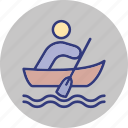 boat, canoe, human, outdoor icon