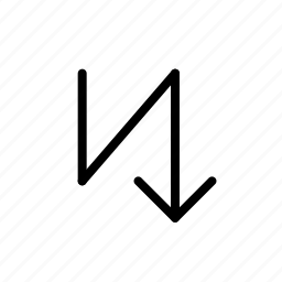 arrow, down, zigzag icon