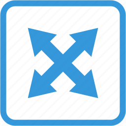 arrow, arrows, direction, expand, zoom out icon