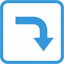 arrow, direction, down, navigation, turn right icon