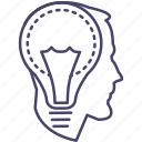 brain, bulb, head, idea, innovation, mind, thinking