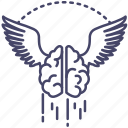 brain, fly, force, high, training icon