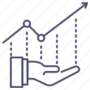 report, growth, take, investment, graph icon