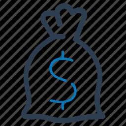 cash, dollar, finance, money bag icon