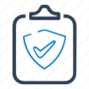 clipboard, document, protect, protection, report, security icon