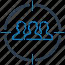 target audience, target market, target user icon