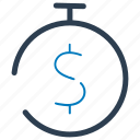 budget, deposit, dollar, money, time, timer icon