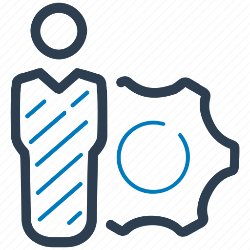 business solution, businessman, gear, management icon