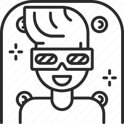 cinema, film, glasses, man, movie, three-dimensional icon