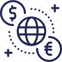 bank, coin, currency, dollar, euro, exchange, international icon