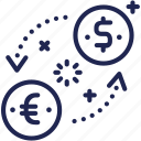 bank, coin, currency, dollar, euro, exchange, money icon