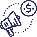 advertising, currency, dollar, exchange, megaphone, money, service icon