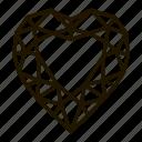 gems, heart, jewel, line, precions, stone icon