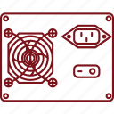 hardware, komputer, power supply icon