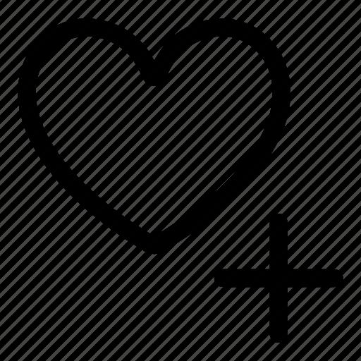 add, heart, like, love, plus, vote icon