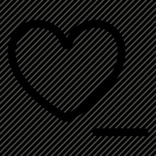 delete, heart, love, minus icon