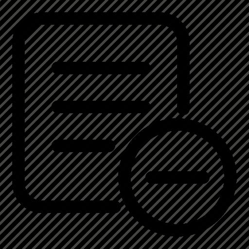 delete, document, drop, ducument, file, minus icon