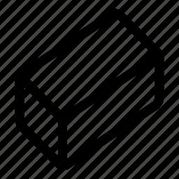 box, cube, eraser, shape, volume icon