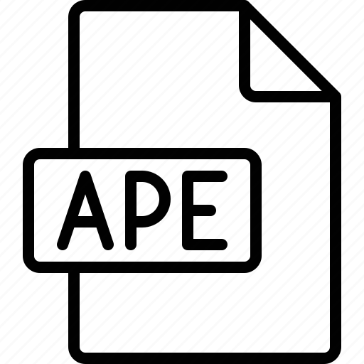 ape, document, extension, file, format icon