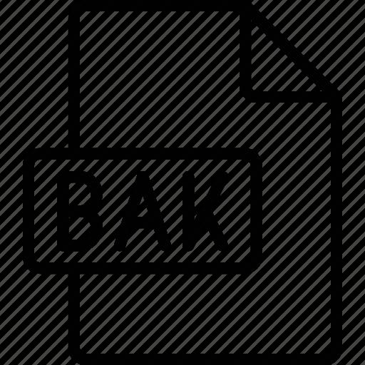 bak, document, extension, file, format icon