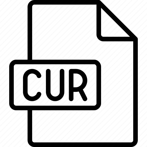 cur, document, extension, file, format icon