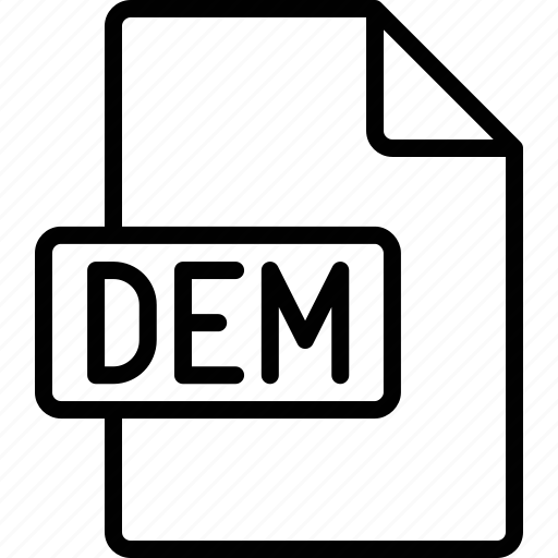 dem, document, extension, file, format icon