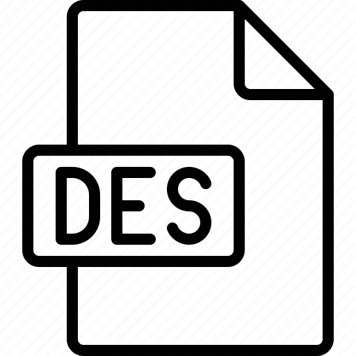 des, document, extension, file, format icon