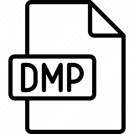 dmp, document, extension, file, format icon