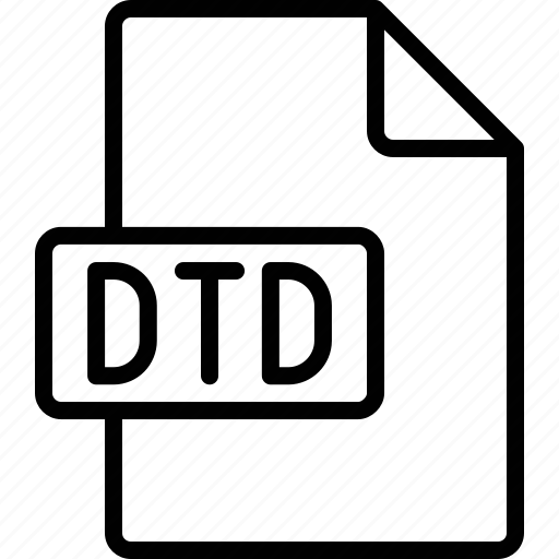 document, dtd, extension, file, format icon