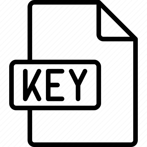 document, extension, file, format, key icon