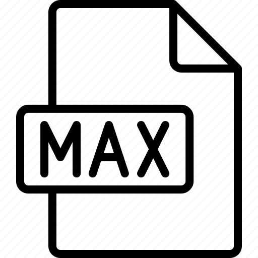 document, extension, file, format, max icon